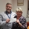 Mrs Bowles being presented with a cheque from Drew Smith, the Chairman of Bassetlaw Conservative Association